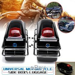 2PCS Universal Motorcycle Hard Tank Saddle Bags Side Boxs Luggage Case With