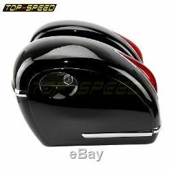 2X LED Motorcycle Side Box Luggage Tank Hard Case Saddle Bags For Harley Custom