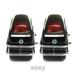 2pcs Motorcycle Hard Tank Saddle Bags Universal Side Box Trunk Luggage + Lights