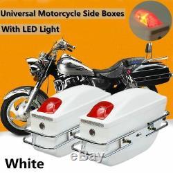 2x Universal Motorcycle Side Boxes Luggage Tank Hard Case Saddle Bags Cruiser