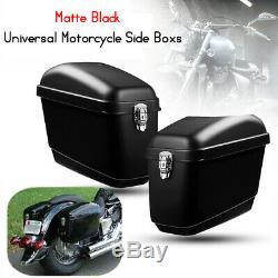 30L Motorcycle Side Box Luggage Saddle Bag Tank Hard Case Cruiser Gloss Black