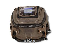 Burly Brand Motorcycle Tank or Tail Bag with Removable Map Pocket Dark Oak Brown