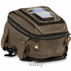 Burly Brand Tail/Tank Bag & Map Pocket Dark Oak Brown Motorcycle Travel Bag