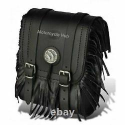 For Indian Chief Motorcycle Black Leather Magnetic Tool Bag Tank Pouch With Fril