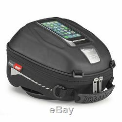 Givi ST602B 5 Litre Motorcycle Motorbike Tank Bag & BF04 Tank Ring Flange Black
