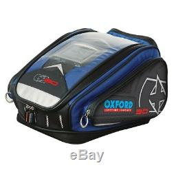 Motorbike Oxford Motorcycle Map Sat Nav Holder Tank Bag Luggage X30 QR Blue