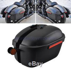 Motorcycle ABS L&R Side Boxs Luggage Tank Hard Case Saddle Bag Cruiser Universal
