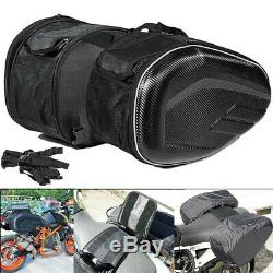 Motorcycle Saddle Bags Helmet Tank Bag WithBands Rain Cover Carbon Fiber Surface &