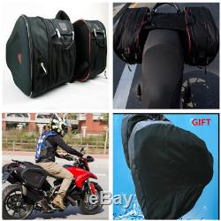Motorcycle Saddle Bags Luggage Pannier Helmet Tank Bags 36-58L WithRain Cover Set