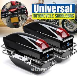 Motorcycle Side Pannier Box Luggage Tank Tail Case Saddle Bags Rack black