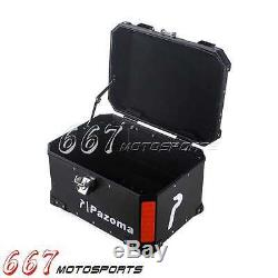 Motorcycle Trunk Motorbike Large Capacity Storage Rear Box Lock Top Case Black