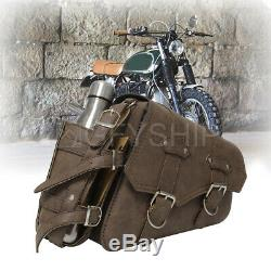 PU Leather Motorcycle Side Saddle Bag SaddleBags Pouch For Harley XL883 1200