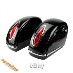Pair Motorcycle Side Cases Tank Hard Saddle Bags Tail Light For Harley Road King