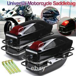 Pair Motorcycle Side Pannier Box Luggage Tank Tail Case Saddle Bags Rack