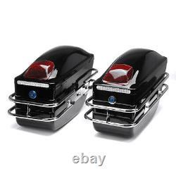 Universal LED Motorcycle Side Boxes Pannier Luggage Tank Hard Case Saddle Bags