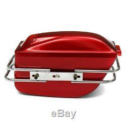 Universal Motorcycle Side Box Luggage Tank Hard Case Saddle Bag Cruiser With Rail