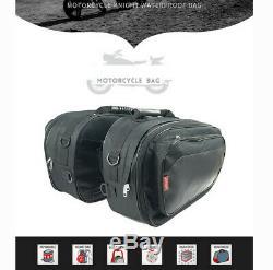 Universal Pair Motorcycle Saddlebags Luggage Helmet Tank Bags With Rain Cover