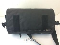 Vintage Used Black Canvas Leather Plastic Tube Motorcycle Tank Bag