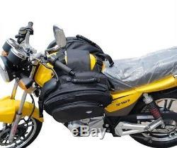 Waterproof Rear Saddle Bag Oxford Motorcycle Tank Pack Black Bike Side Luggage