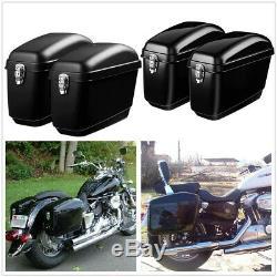 2pcs 30l Moto Sacoches Latérales Caisse De Réservoir De Bagages Sacoche Dure Sac De Selle Cruiser