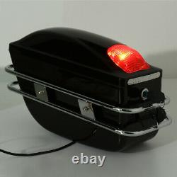 2pcs Motorcycle Hard Tank Saddle Bags Universal Side Box Trunk Luggage + Lumières