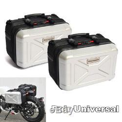 2x Argent Blanc Sac De Selle De Moto Side Case Box Bagages Réservoir Touring Topcase