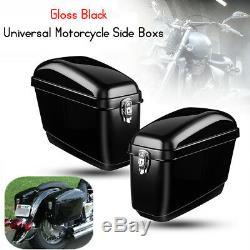2x Brillant Noir Moto Côté Boîte Bagages Réservoir Cas Dur Sacoche De Selle Cruiser