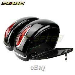 2x Led Moto Side Box Bagages Réservoir Hard Case Selle Sacs Pour Harley Personnalisée