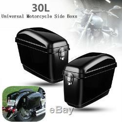 30l Moto Side Box Bagages Selle Sac De Réservoir Hard Case Cruiser Black Gloss