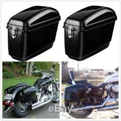 30l Moto Side Box Bagages Selle Sac De Réservoir Hard Case Pannier Gloss Black