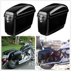 30l Moto Side Box Luggage Tank Hard Case Saddle Bag Panniers Glossy Black