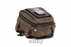 Burly Voyager Tank Tail Bag Uv Traité Chêne Foncé Toile Harley Moto Custom