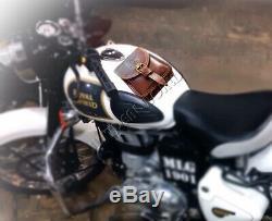Cuir Royal Enfield Magnétique Moto Réservoir De Carburant Toolbox Sac / Pochette Carrybag