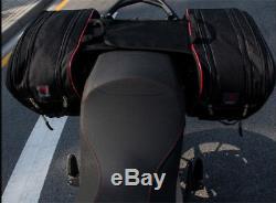 Grande Capacité Sacs De Selle De Moto Bagages Pannier Casque Sac De Réservoir + Housse De Pluie