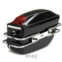 Moto Side Box Bagages Réservoir Hardtail Case Selle Sacs Pannier Avec Support