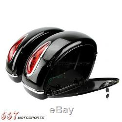 Nouvelle Moto Sacs Side Saddle Boxs Bagages Réservoir Hard Case Pour Harley Road King