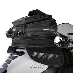 Oxford M15r Noir Moto Velcro Moto De Fixation Sac Léger Réservoir Magnétique