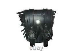 Pour Indian Chief Motorcycle Black Leather Magnetic Tool Bag Tank Pouch With Fril