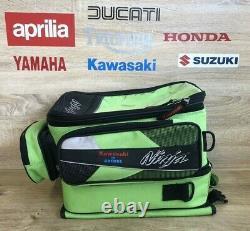 Rare Oxford Kawasaki Ninja Sports Magnetic Tank Bagage Sac À Dos De Moto