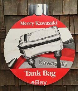 Vintage 2 Sided Moto Kawasaki Magasin Afficher Le Concessionnaire Signe Lunettes Sac De Réservoir