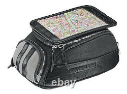 -held- Canvas Black Grey 4 Litres Motorcycle Tank Bag With Map Compartment